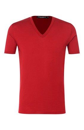 Хлопковая футболка с V-образным вырезом Dolce & Gabbana красная | Фото №1