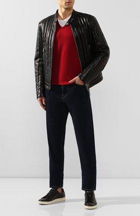 Хлопковая футболка с V-образным вырезом Dolce & Gabbana красная | Фото №2