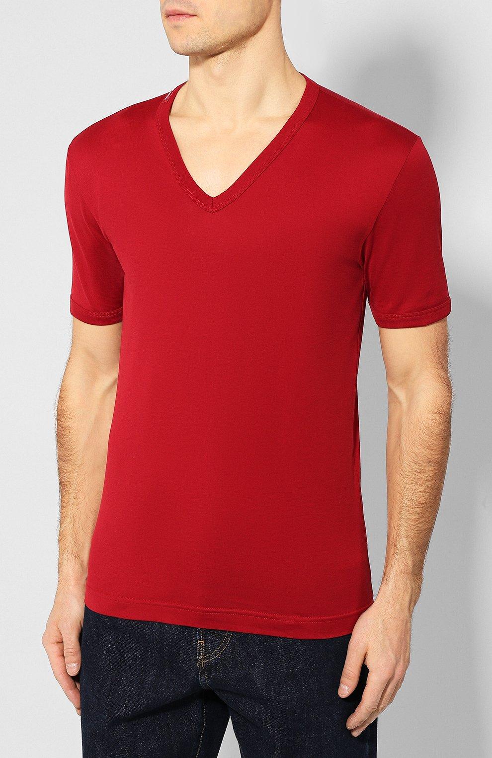 Хлопковая футболка с V-образным вырезом Dolce & Gabbana красная | Фото №3