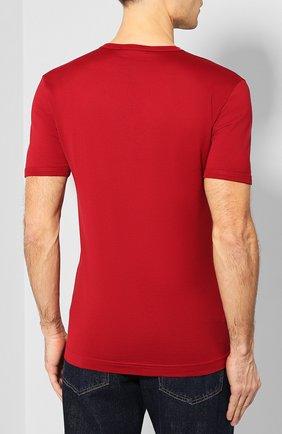 Хлопковая футболка с V-образным вырезом Dolce & Gabbana красная | Фото №4