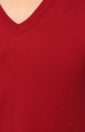 Хлопковая футболка с V-образным вырезом Dolce & Gabbana красная | Фото №5