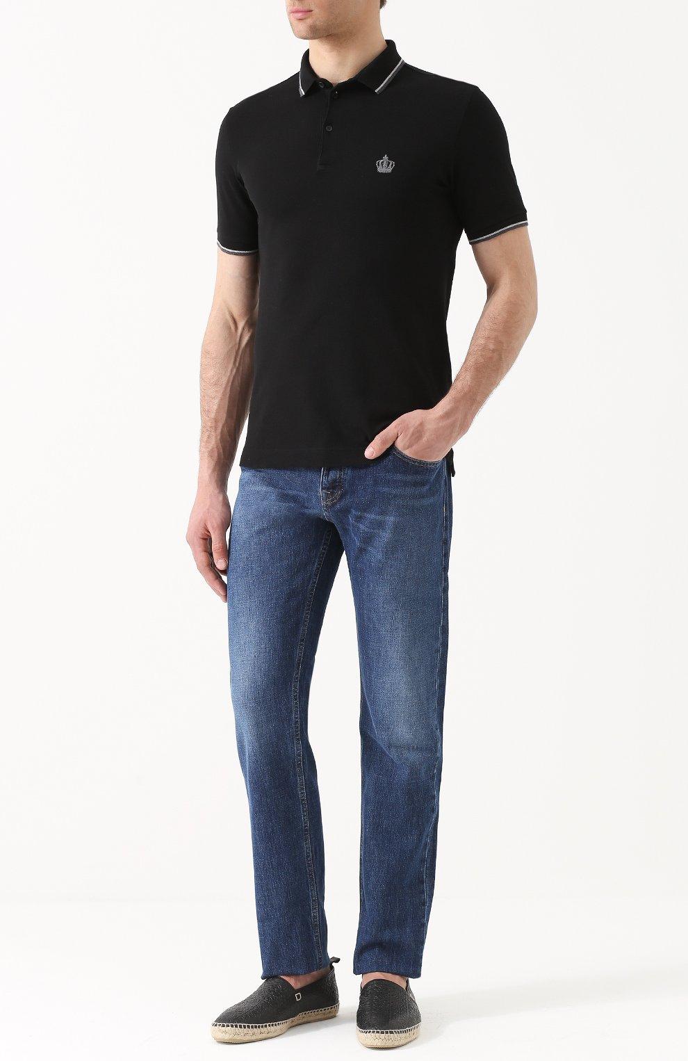 Хлопковое поло с короткими рукавами Dolce & Gabbana черное | Фото №2