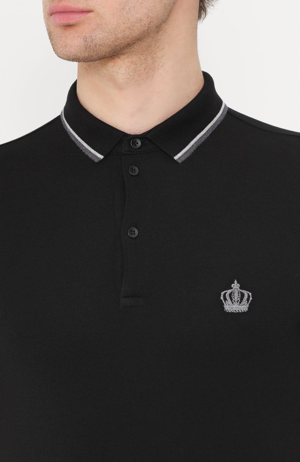 Хлопковое поло с короткими рукавами Dolce & Gabbana черное | Фото №5