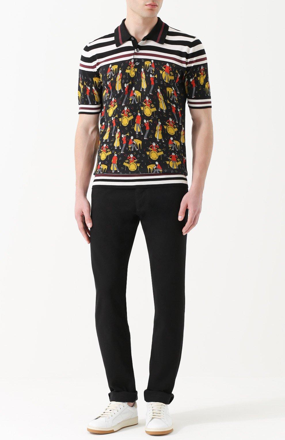 Шелковое поло с принтом Dolce & Gabbana черное | Фото №2