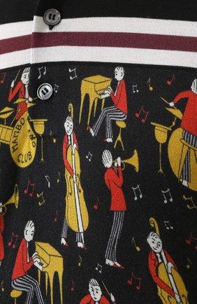 Шелковое поло с принтом Dolce & Gabbana черное | Фото №5