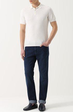 Мужские джинсы прямого кроя с контрастной прострочкой ZILLI темно-синего цвета, арт. 613N050002 | Фото 2