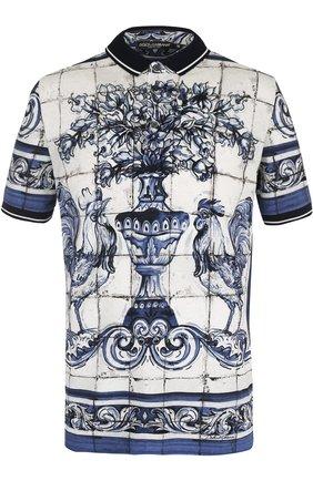 Хлопковое поло с принтом Dolce & Gabbana голубое | Фото №1