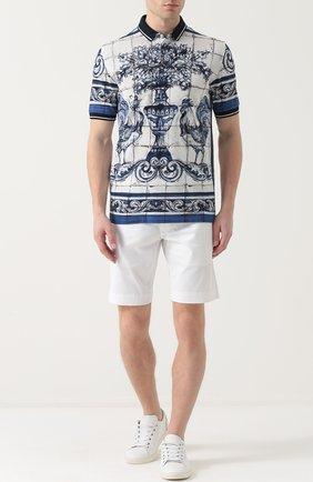 Хлопковое поло с принтом Dolce & Gabbana голубое | Фото №2