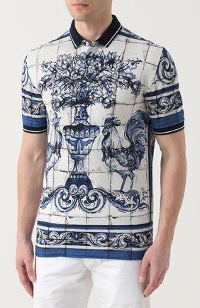 Хлопковое поло с принтом Dolce & Gabbana голубое | Фото №3