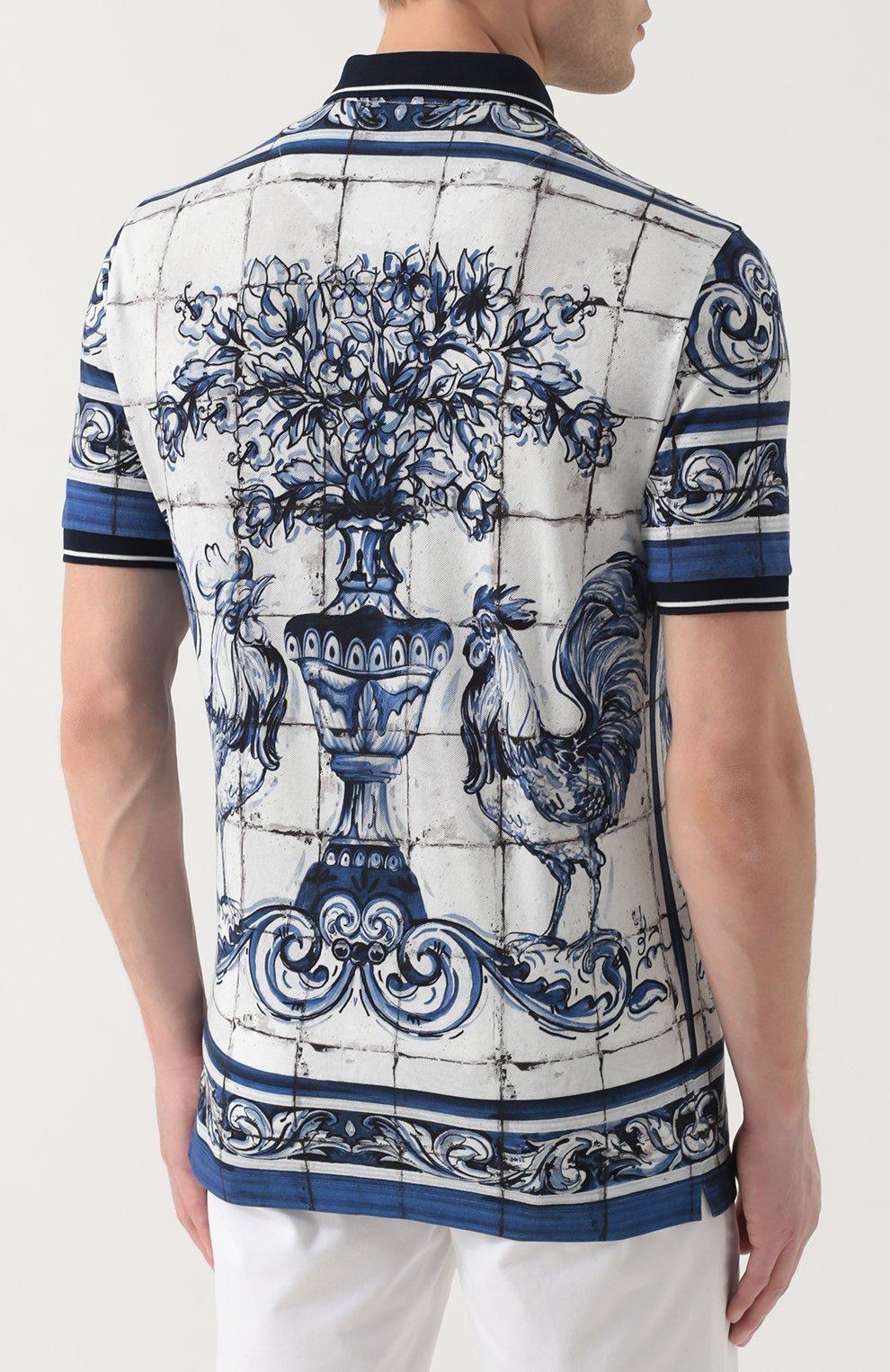 Хлопковое поло с принтом Dolce & Gabbana голубое | Фото №4
