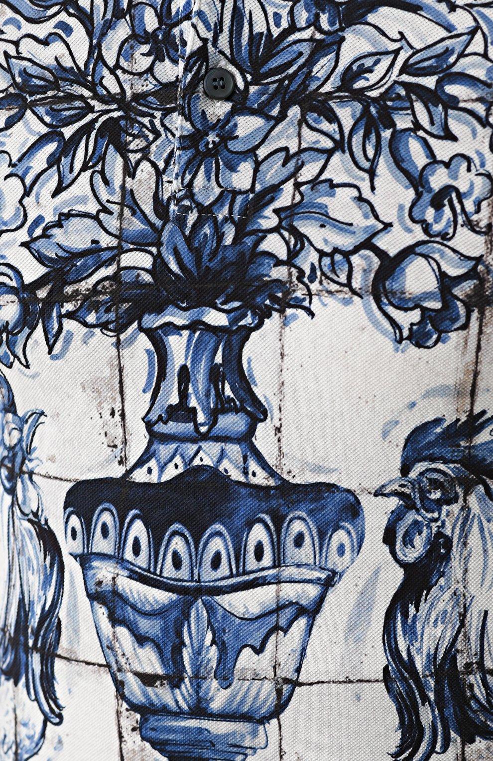 Хлопковое поло с принтом Dolce & Gabbana голубое | Фото №5