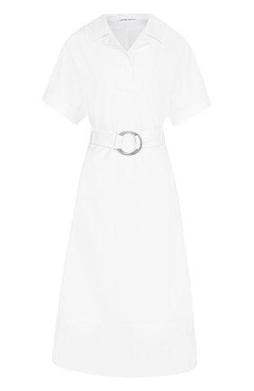 Хлопковое платье-рубашка с широким поясом | Фото №1