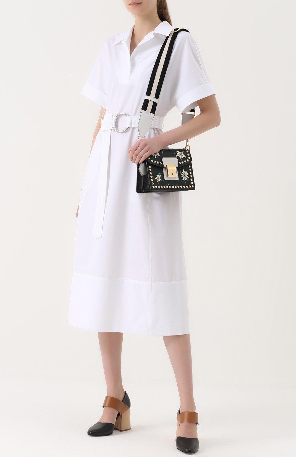Хлопковое платье-рубашка с широким поясом | Фото №2