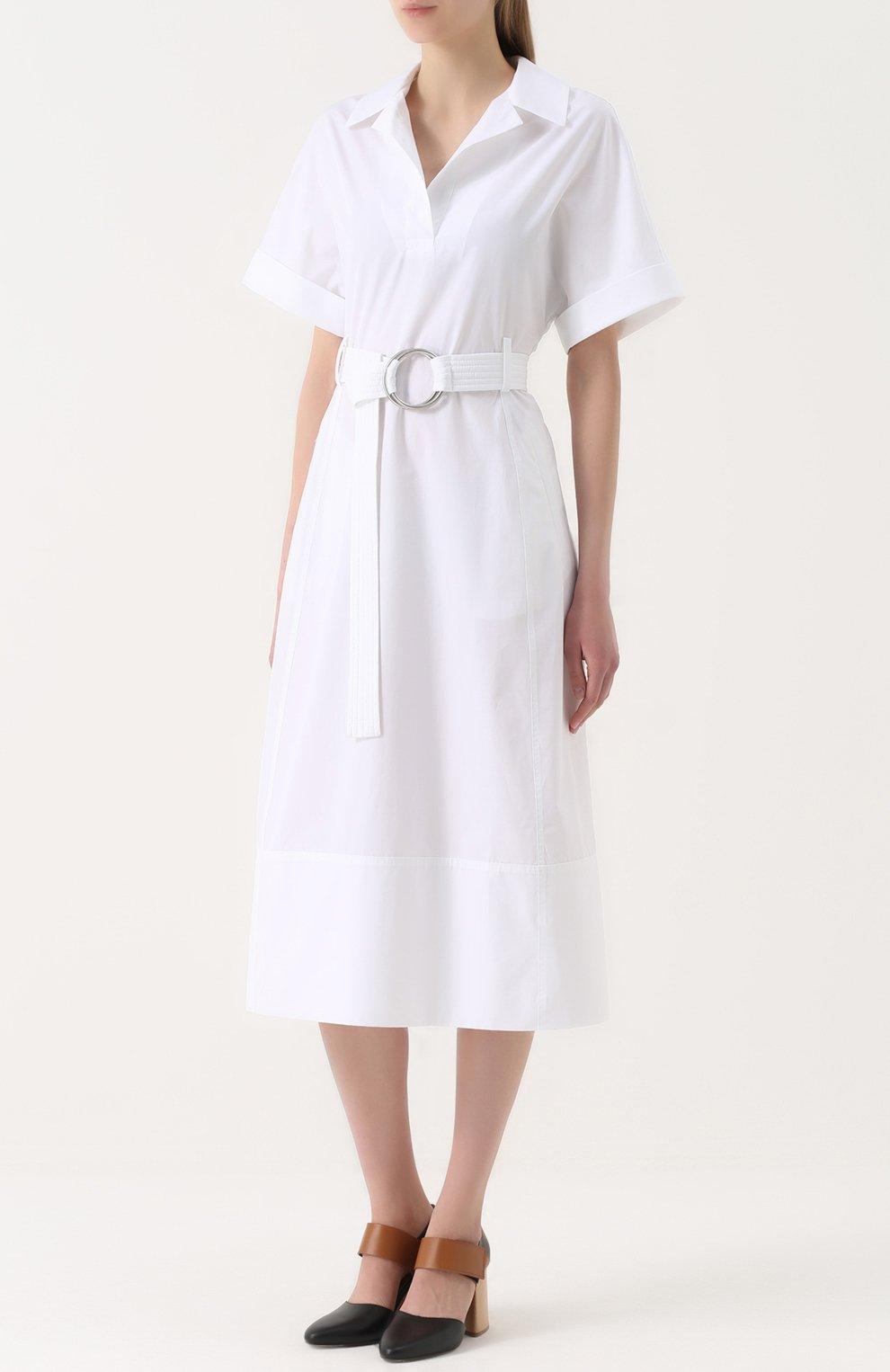 Хлопковое платье-рубашка с широким поясом | Фото №3