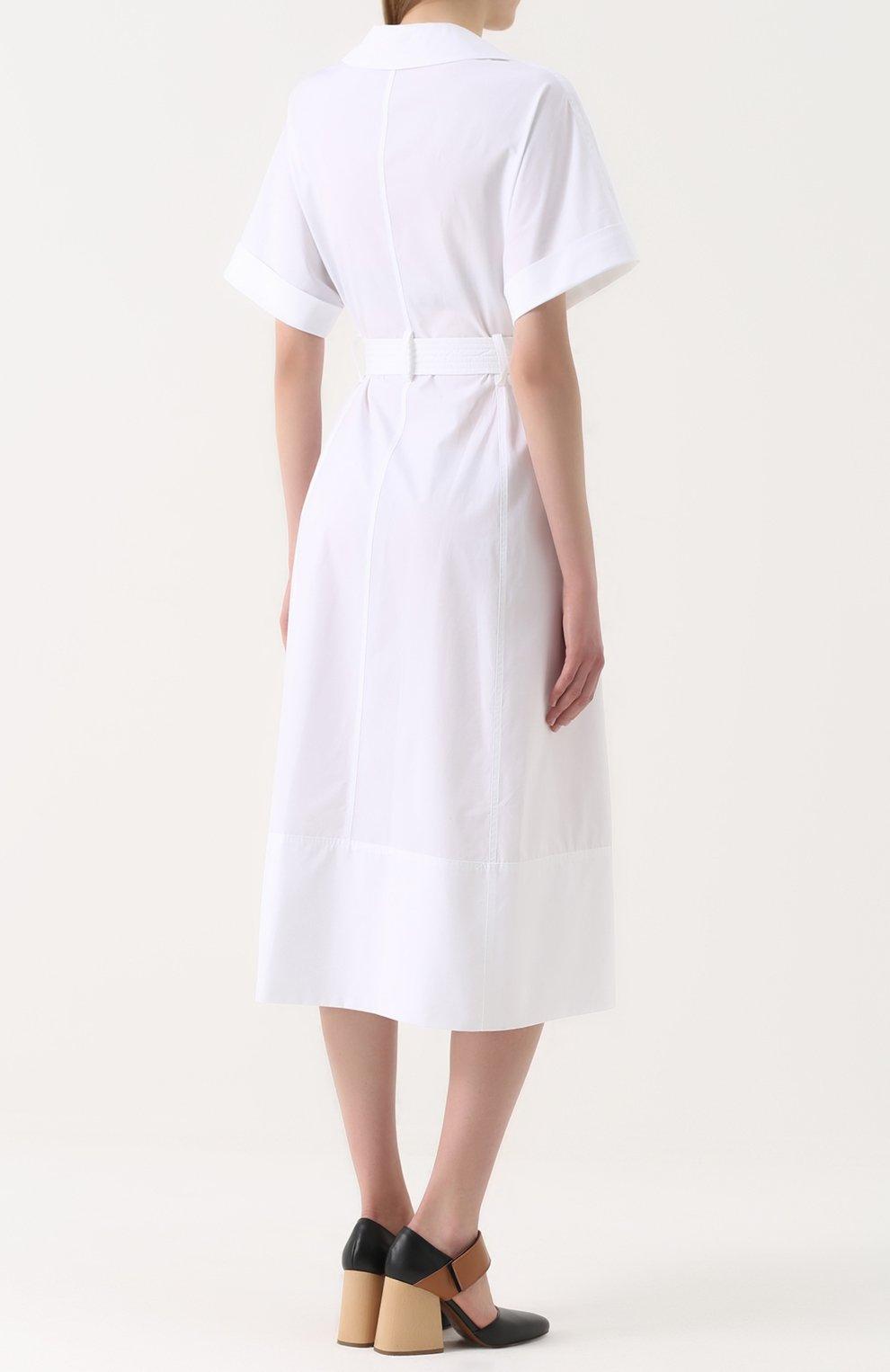 Хлопковое платье-рубашка с широким поясом | Фото №4