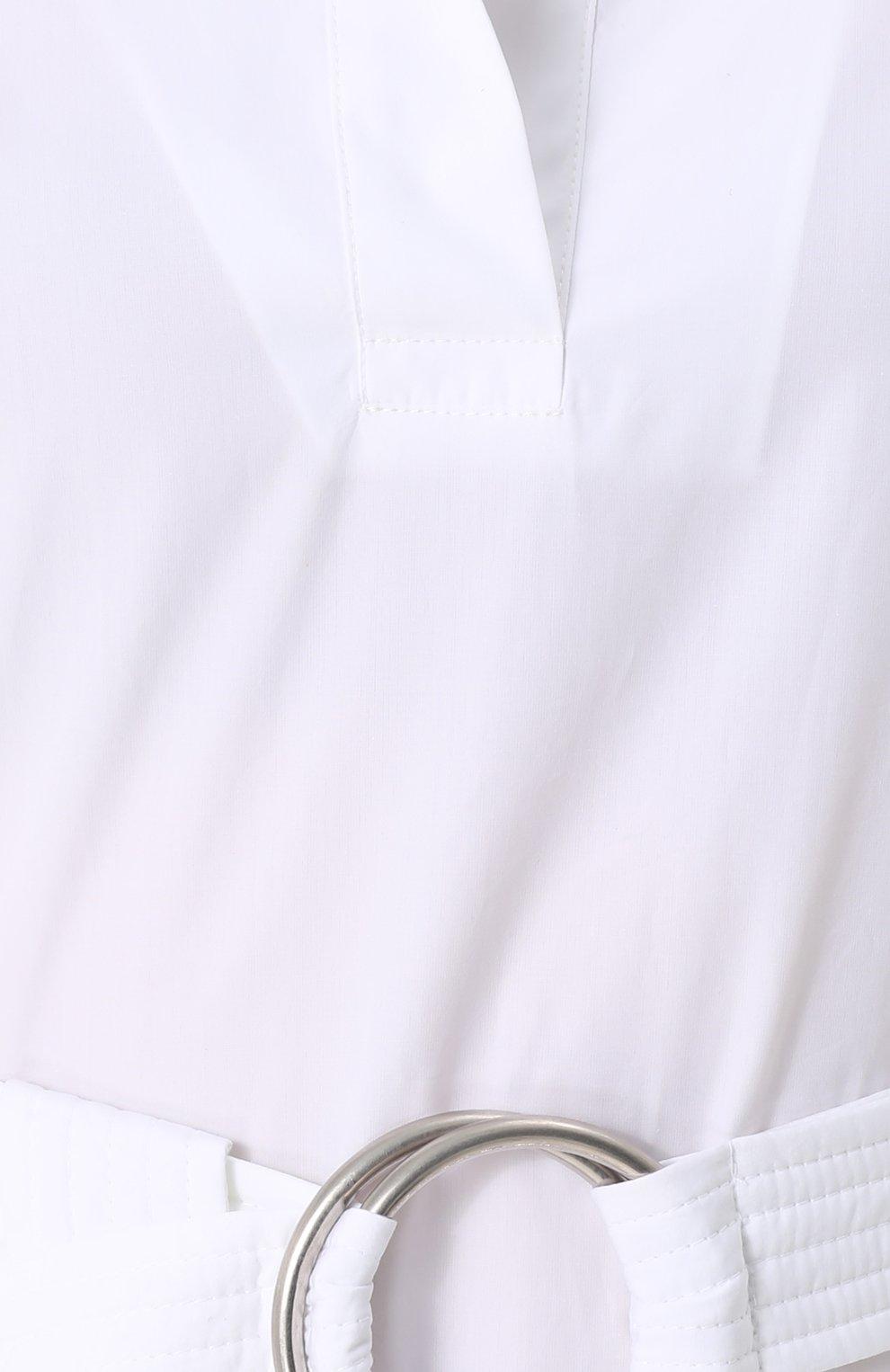 Хлопковое платье-рубашка с широким поясом | Фото №5