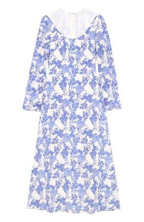 Шелковое платье с цветочным принтом и прозрачной вставкой Francesco Scognamiglio голубое | Фото №1