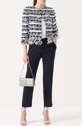 Женские укороченные брюки прямого кроя со стрелками ST. JOHN темно-синего цвета, арт. K84KW10 | Фото 2