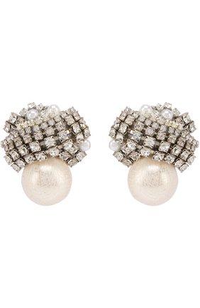 Серьги с жемчужинами и кристаллами Erickson Beamon белые | Фото №1