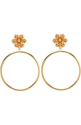 Серьги-клипсы с подвесками-кольцами Dolce & Gabbana золотые | Фото №1