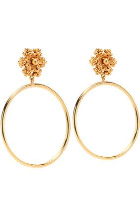 Серьги-клипсы с подвесками-кольцами Dolce & Gabbana золотые | Фото №2