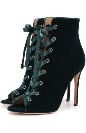 Бархатные ботильоны Marie на шнуровке | Фото №1