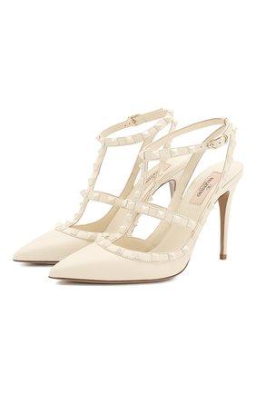 Женская кожаные туфли valentino garavani rockstud с ремешками VALENTINO белого цвета, арт. NW1S0393/VB8 | Фото 1