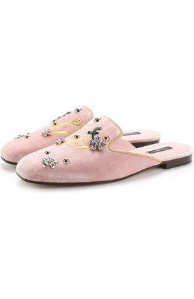 Бархатные сабо с вышивкой и кристаллами Dolce & Gabbana светло-розовые | Фото №1