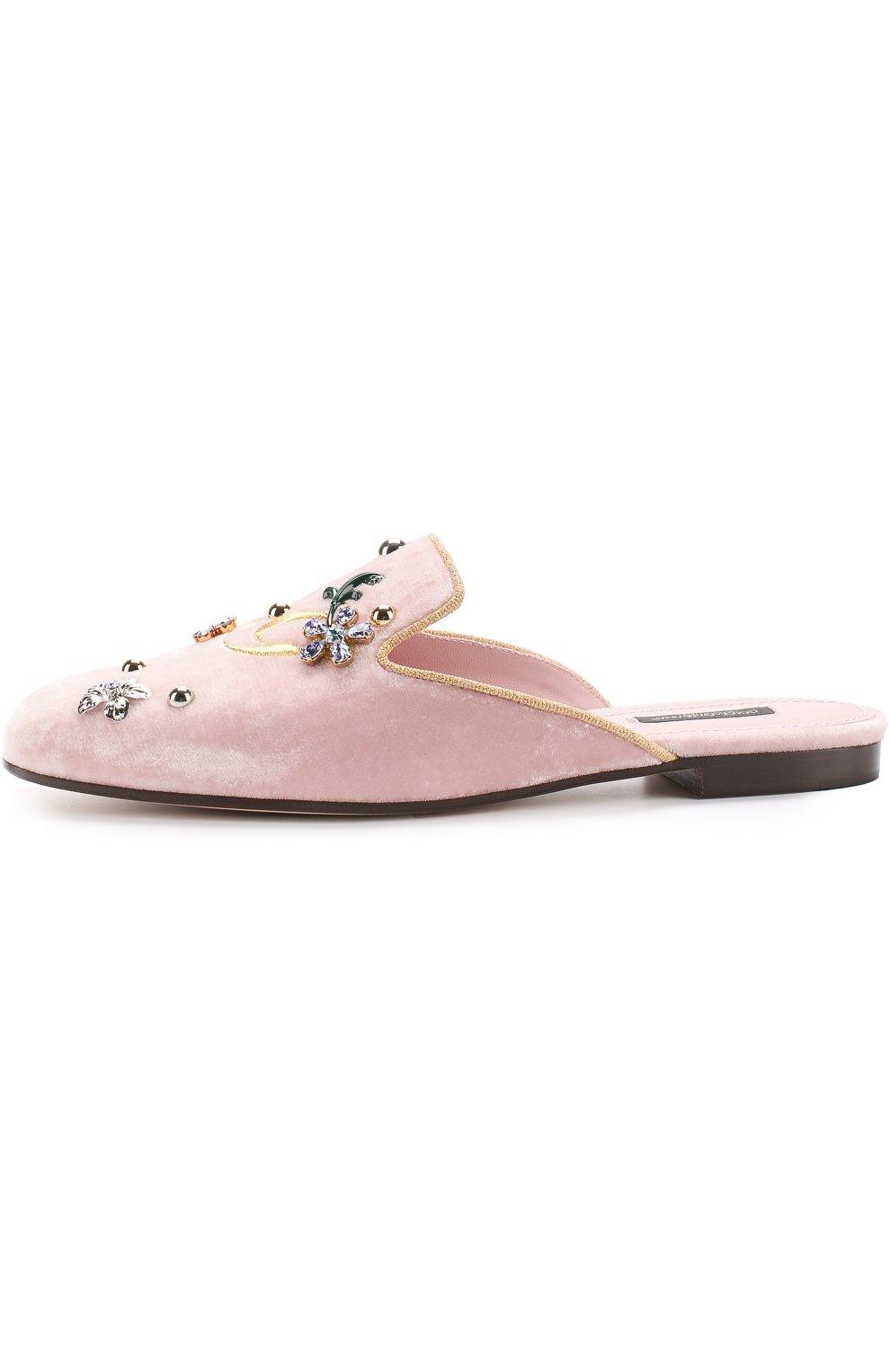 Бархатные сабо с вышивкой и кристаллами Dolce & Gabbana светло-розовые | Фото №3