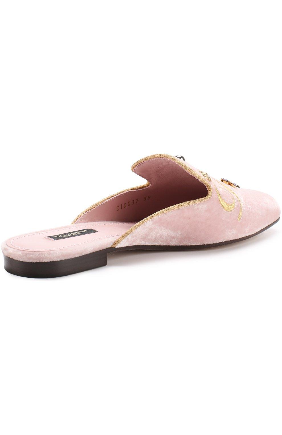 Бархатные сабо с вышивкой и кристаллами Dolce & Gabbana светло-розовые | Фото №4