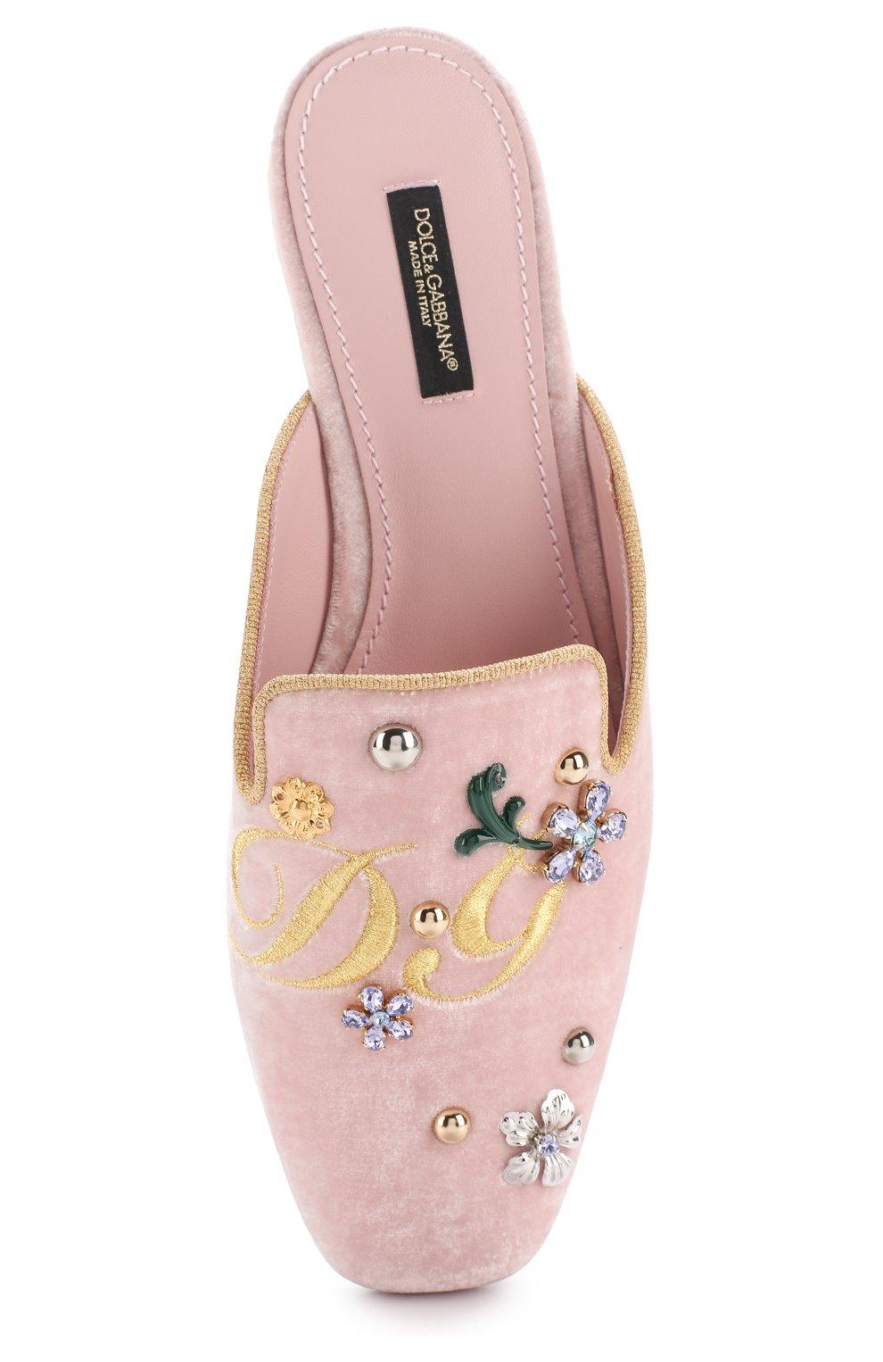 Бархатные сабо с вышивкой и кристаллами Dolce & Gabbana светло-розовые | Фото №5