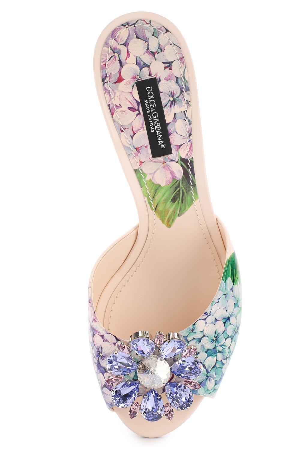 Кожаные мюли Bellucci с брошью Dolce & Gabbana разноцветные | Фото №5