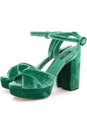 Бархатные босоножки на устойчивом каблуке | Фото №1