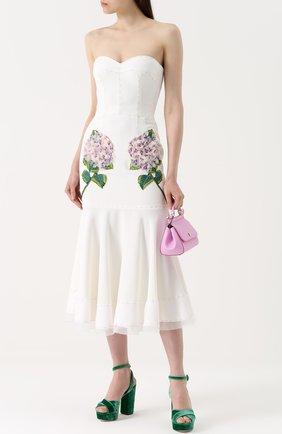 Бархатные босоножки на устойчивом каблуке Dolce & Gabbana зеленые   Фото №2