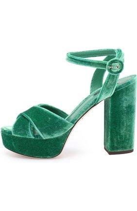 Бархатные босоножки на устойчивом каблуке Dolce & Gabbana зеленые   Фото №3