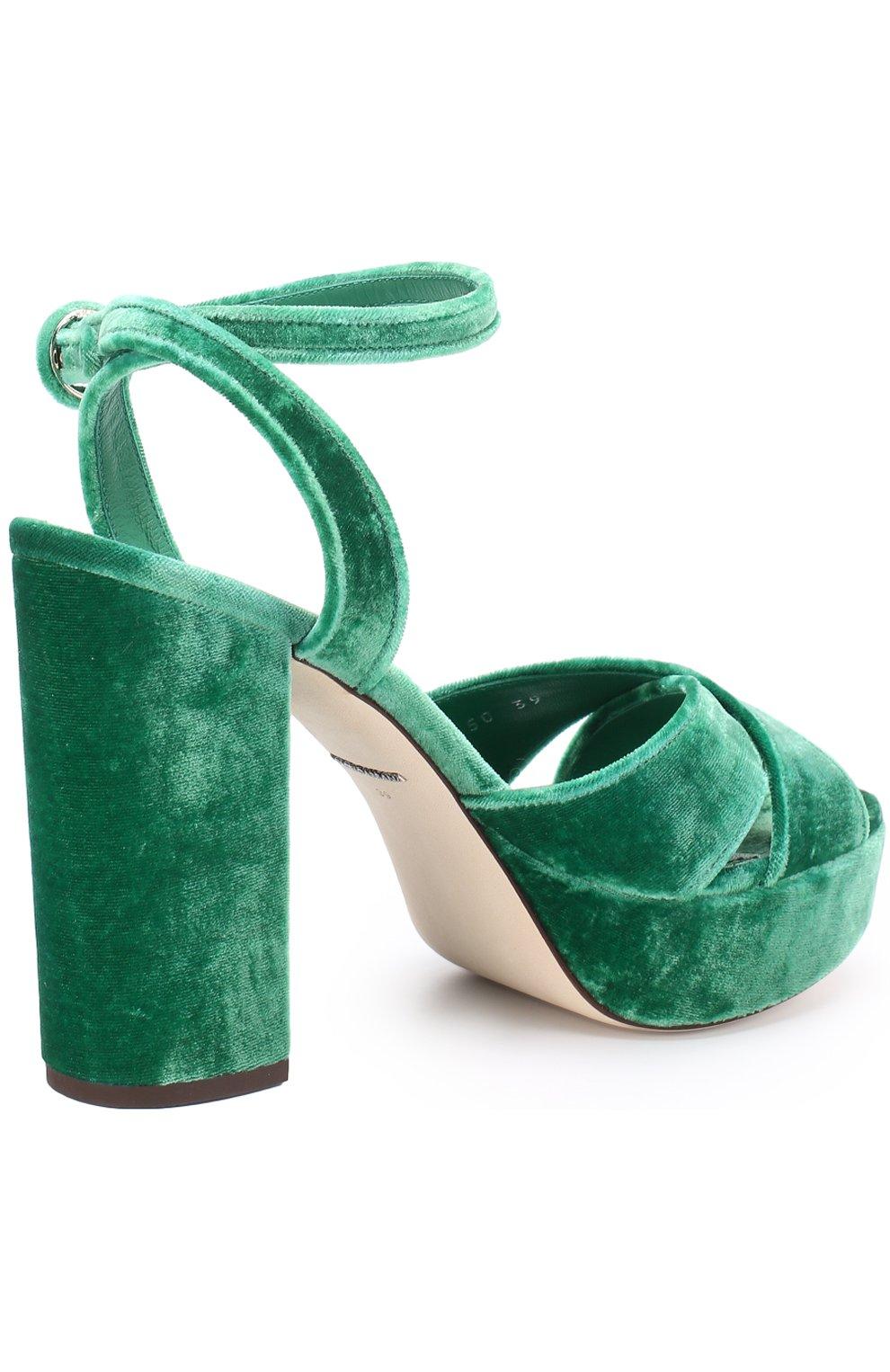 Бархатные босоножки на устойчивом каблуке Dolce & Gabbana зеленые   Фото №4