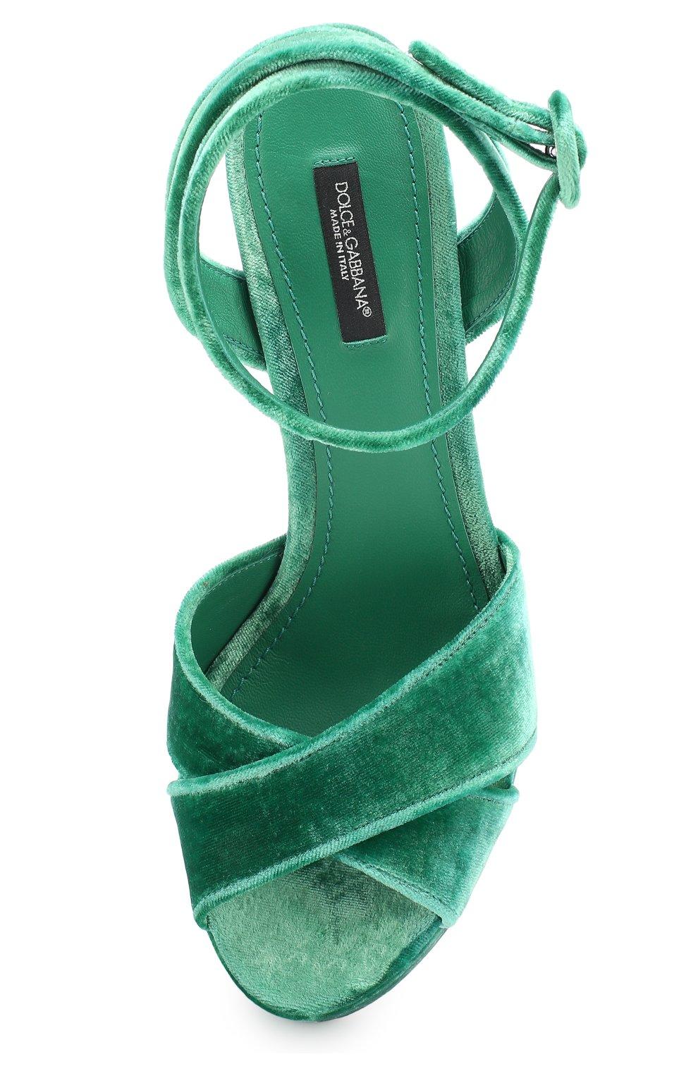 Бархатные босоножки на устойчивом каблуке Dolce & Gabbana зеленые   Фото №5