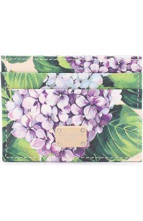 Кожаный футляр для кредитных карт с принтом Dolce & Gabbana кремвого цвета   Фото №1