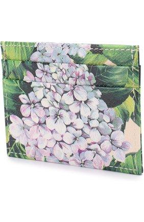 Кожаный футляр для кредитных карт с принтом Dolce & Gabbana кремвого цвета   Фото №2