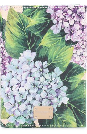Кожаная обложка для документов с принтом Dolce & Gabbana зеленого цвета | Фото №1