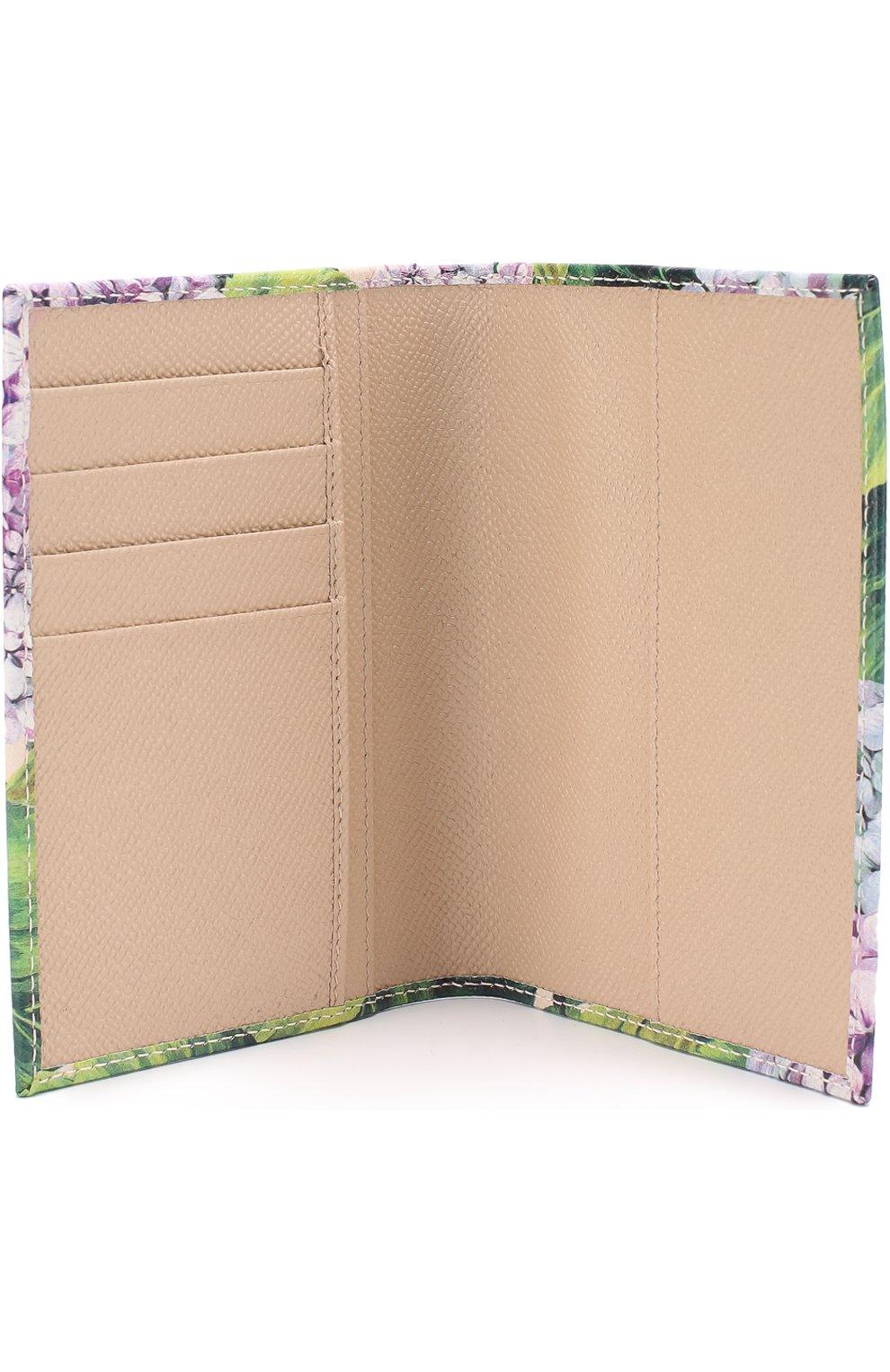 Кожаная обложка для документов с принтом Dolce & Gabbana зеленого цвета | Фото №3