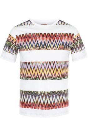 Хлопковая футболка с контрастным принтом Missoni белая | Фото №1