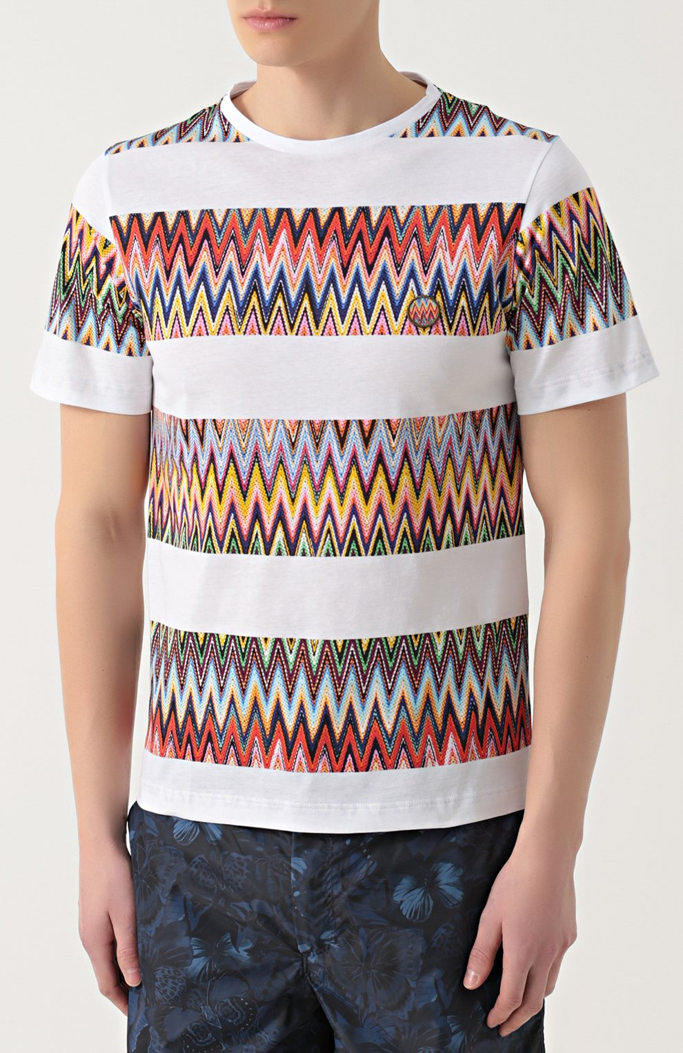 Хлопковая футболка с контрастным принтом Missoni белая | Фото №3
