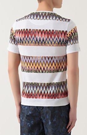 Хлопковая футболка с контрастным принтом Missoni белая | Фото №4