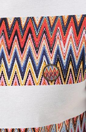 Хлопковая футболка с контрастным принтом Missoni белая | Фото №5