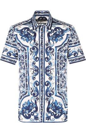 Хлопковая рубашка с короткими рукавами спринтом Dolce & Gabbana синяя | Фото №1