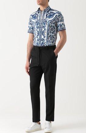 Хлопковая рубашка с короткими рукавами спринтом Dolce & Gabbana синяя | Фото №2