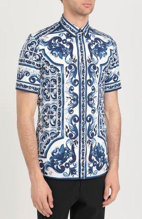 Хлопковая рубашка с короткими рукавами спринтом Dolce & Gabbana синяя | Фото №3