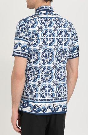 Хлопковая рубашка с короткими рукавами спринтом Dolce & Gabbana синяя | Фото №4