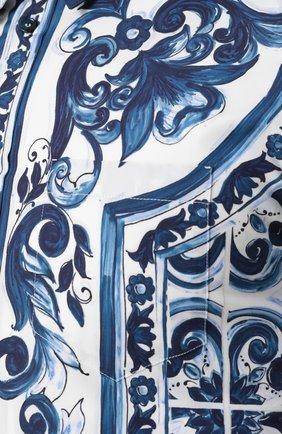 Хлопковая рубашка с короткими рукавами спринтом Dolce & Gabbana синяя | Фото №5